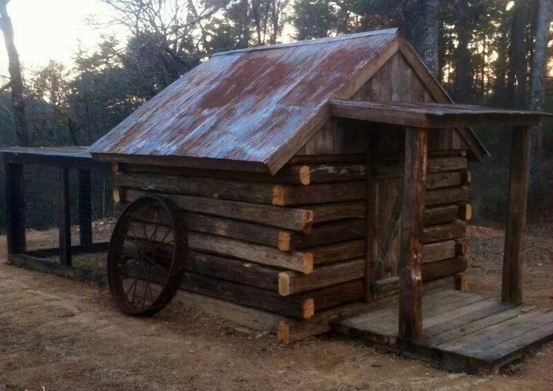 Rustic Log Chicken Coop