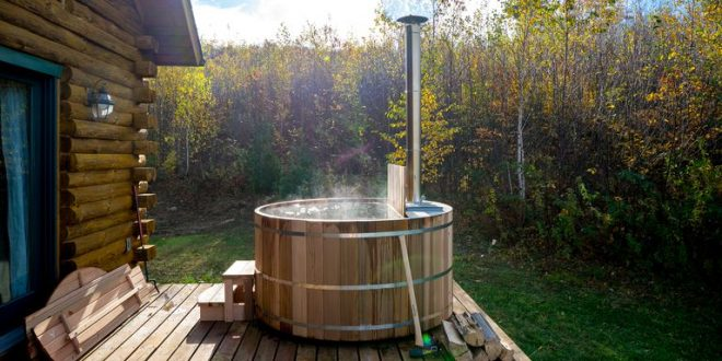 Wood and Stainless-Steel Hot Tub