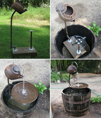 Tea Pot Fountain with Wooden Barrel Basin