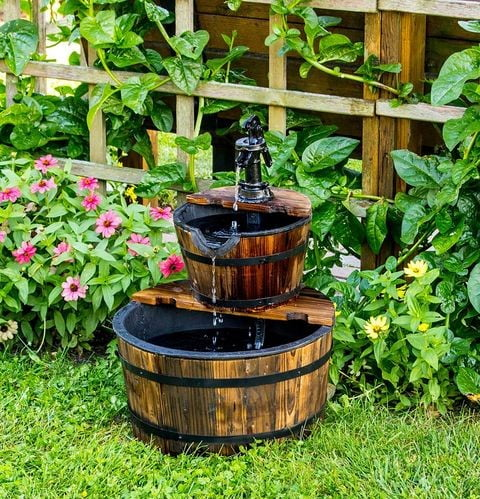 Wooden Barrel Water Feature