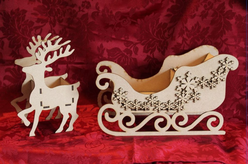 Wooden Reindeer and Sledge