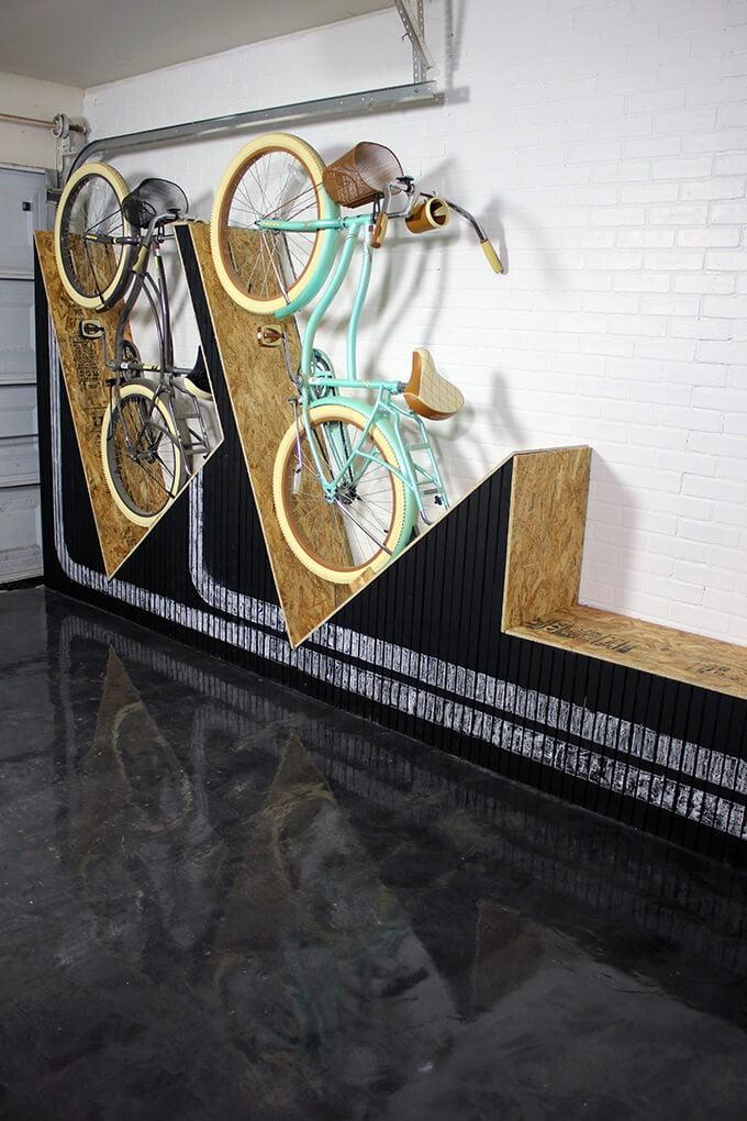 Bike Storage Wall with Bench