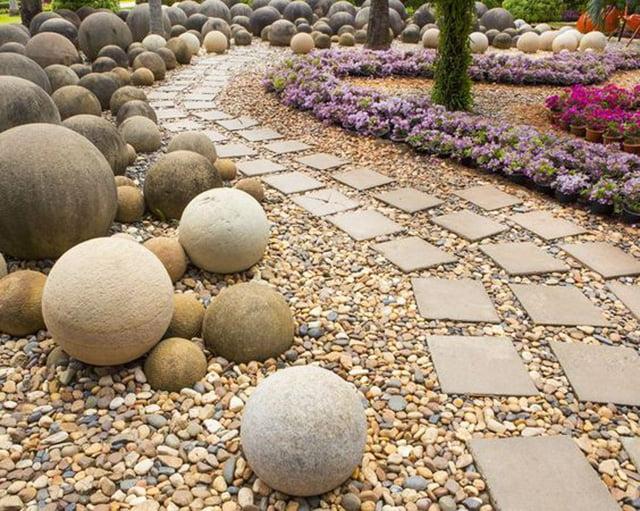 Concrete Balls Dry Creek Bed