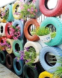 Fencing Using Tire Planters
