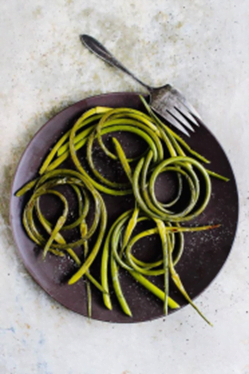 Grilled Garlic Scapes with Sea Salt