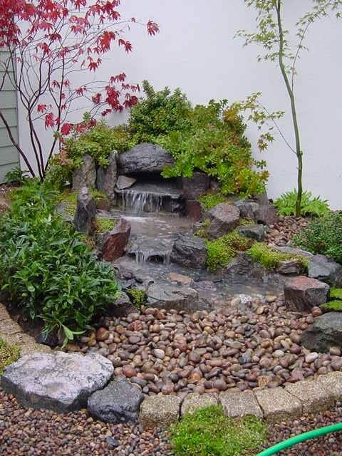 Japanese Rock Garden with a Small Waterfall