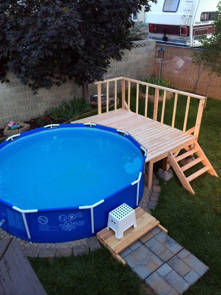 Portable Above Ground Pool with Small Deck