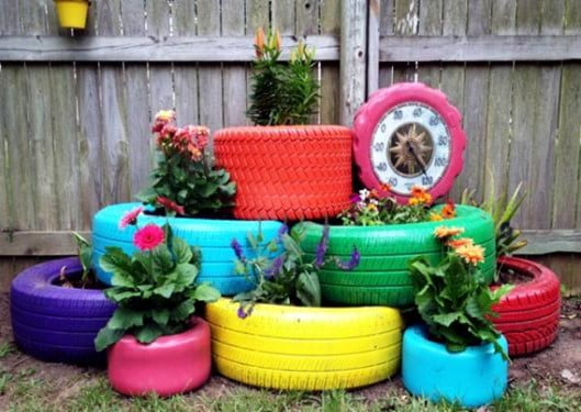 Stacked Garden Tire Planters