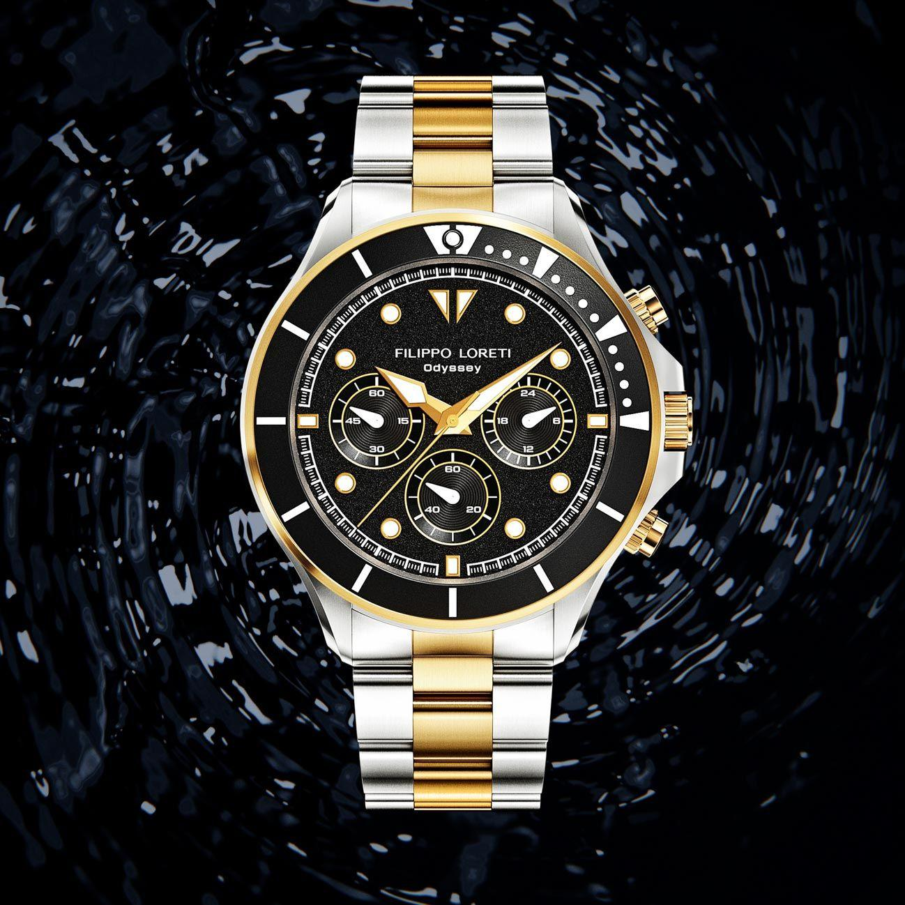Odyssey Two Tone Rose Gold Steel Men's Watch from Filippo Loreti